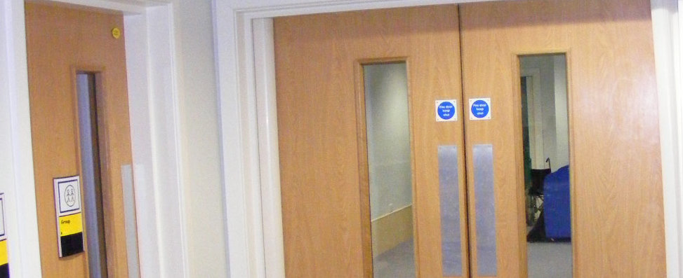 Typical fire doors fitted to a school